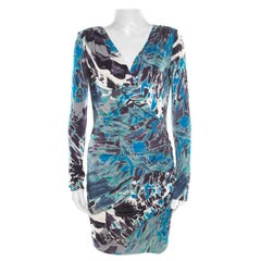 Emilio Pucci Multicolor Printed Silk Jersey Power Shoulder Draped Dress M
