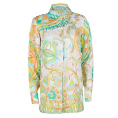 Emilio Pucci Multicolor Printed Silk Long Sleeve Button Front Blouse M