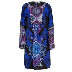 Emilio Pucci Multicolor Printed Silk Long Sleeve Dress L