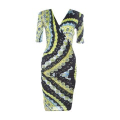 Emilio Pucci Multicolor Printed Stretch Jersey Plunge Neck Dress S