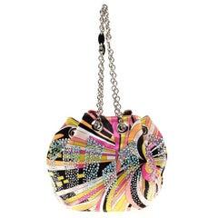 Emilio Pucci Multicolor Satin Crystal Studded Bucket Bag