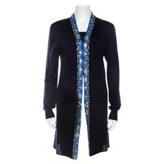 Emilio Pucci Navy Blue Embellished Trim Long Sleeve Cardigan M