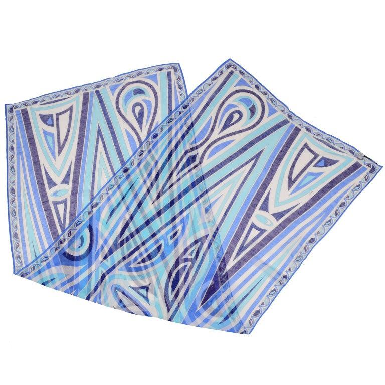 Women's or Men's Emilio Pucci New in Original Box Blue Pattern Oblong Linen Scarf
