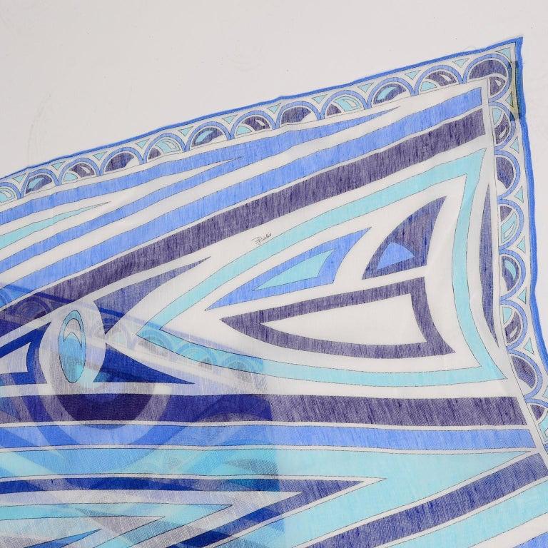 Emilio Pucci New in Original Box Blue Pattern Oblong Linen Scarf 3