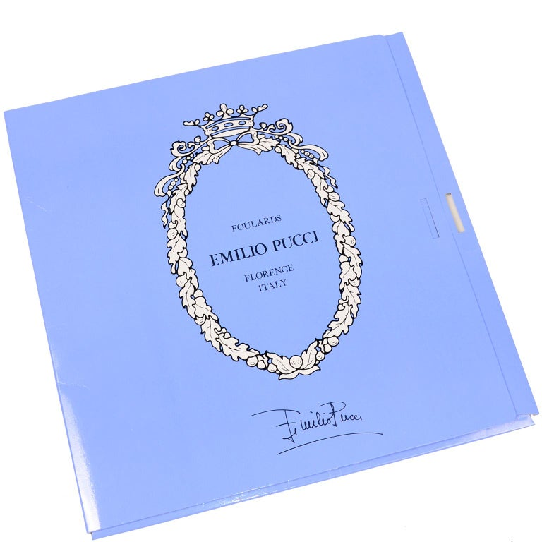 Emilio Pucci New in Original Box Blue Pattern Oblong Linen Scarf 4