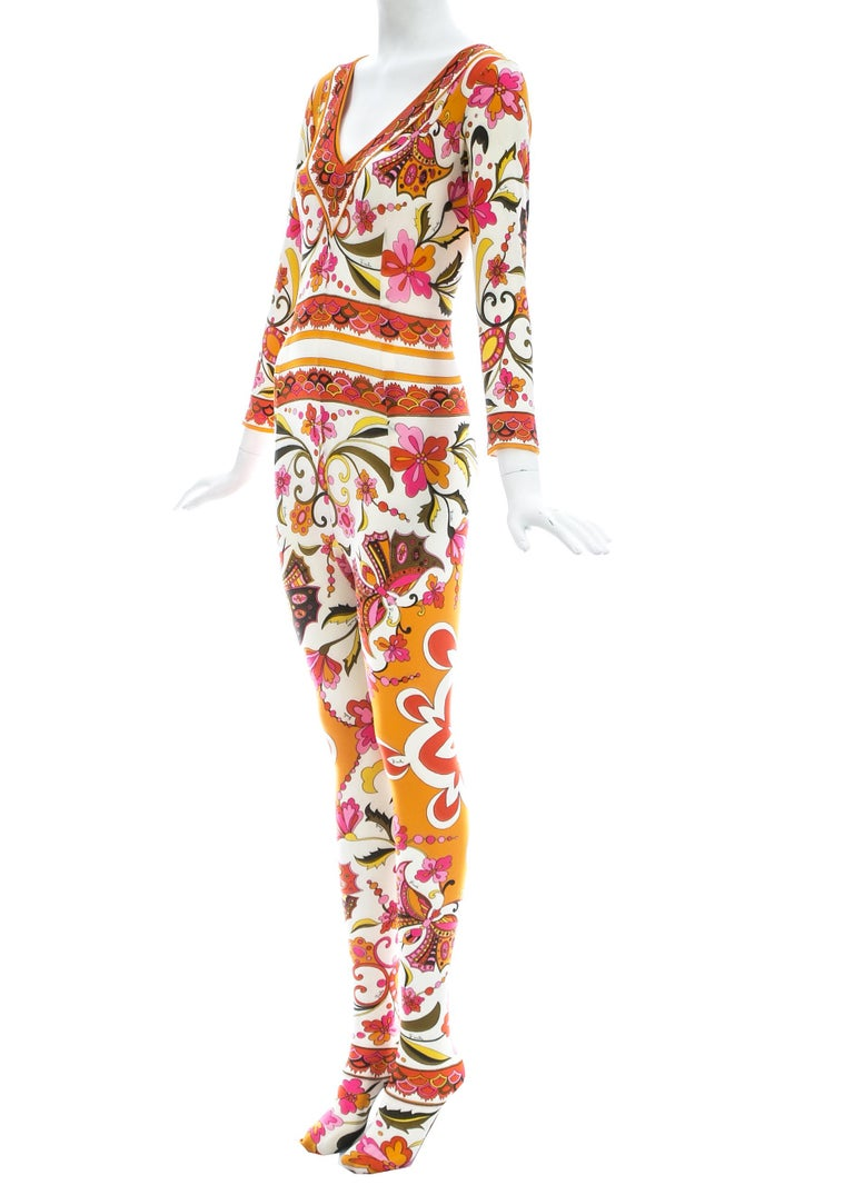 Emilio Pucci nylon floral printed body stocking, Spring-Summer 1966 In Good Condition For Sale In London, GB