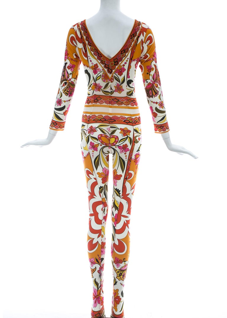 Women's Emilio Pucci nylon floral printed body stocking, Spring-Summer 1966 For Sale