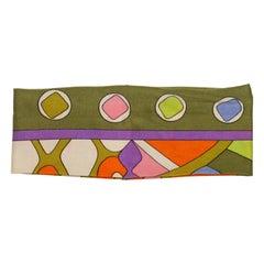 Emilio Pucci Olive Green & Multicolor Printed Headband