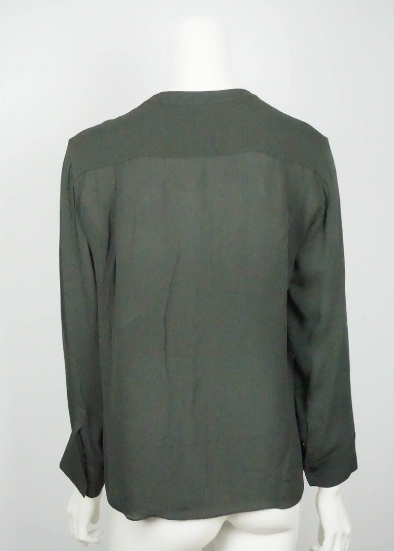 Black Emilio Pucci Olive Silk Chiffon L/S Top - 34 For Sale