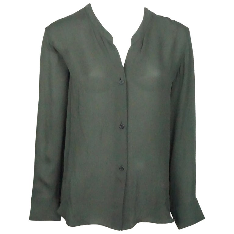 Emilio Pucci Olive Silk Chiffon L/S Top - 34 For Sale