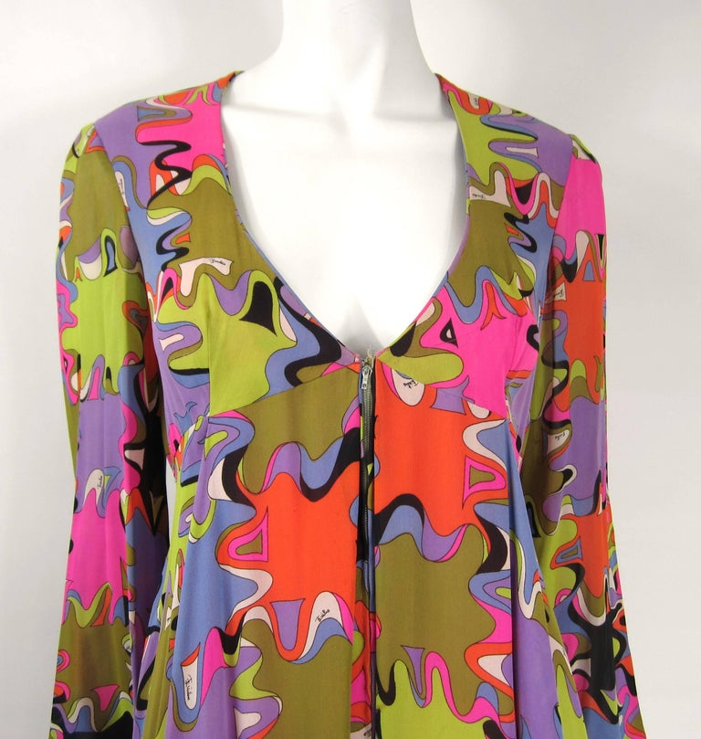 Emilio Pucci Palazzo Pant Silk Purple Green jumpsuit 1960s Vintage In Good Condition For Sale In Wallkill, NY