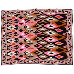 Emilio Pucci Pink and Black Geometric Silk Square Scarf, 1990s