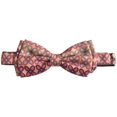 Emilio Pucci Pink and Purple Print Bow Tie Pre-Tied Adjustable