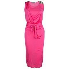Emilio Pucci Pink Embellished Shoulder Detail Sleeveless Belted Midi Dress S