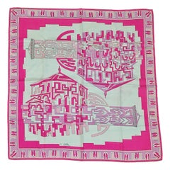 Emilio Pucci Pink Florence Baptistery and Bell Tower Scarf 1970s