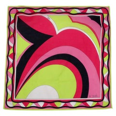 Emilio Pucci Pink & Green Abstract Scarf