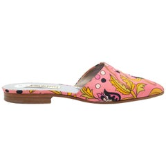 Emilio Pucci Pink & Multicolor Abstract Print Mules
