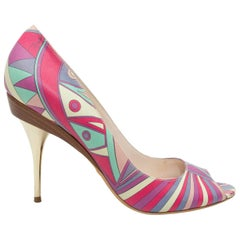 Emilio Pucci Pink & Multicolor Printed Peep-Toe Pumps