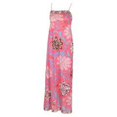 Emilio Pucci Pink Printed Maxi Slip Dress c.1970's