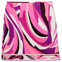 Emilio Pucci Pink/White/Purple Abstract Printed Short Skirt sz 8