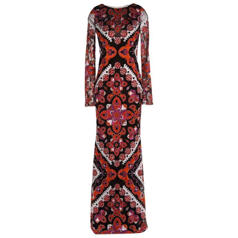Emilio Pucci Printed Devore Gown For Sale