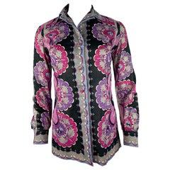 Emilio Pucci Purple and Multicolor Button Down Shirt, Size 10