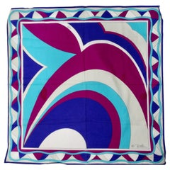 Emilio Pucci Purple & Blue Abstract Scarf