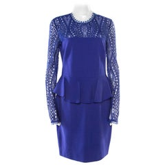 Emilio Pucci Purple Lace Yoke Peplum Detail Pencil Dress L