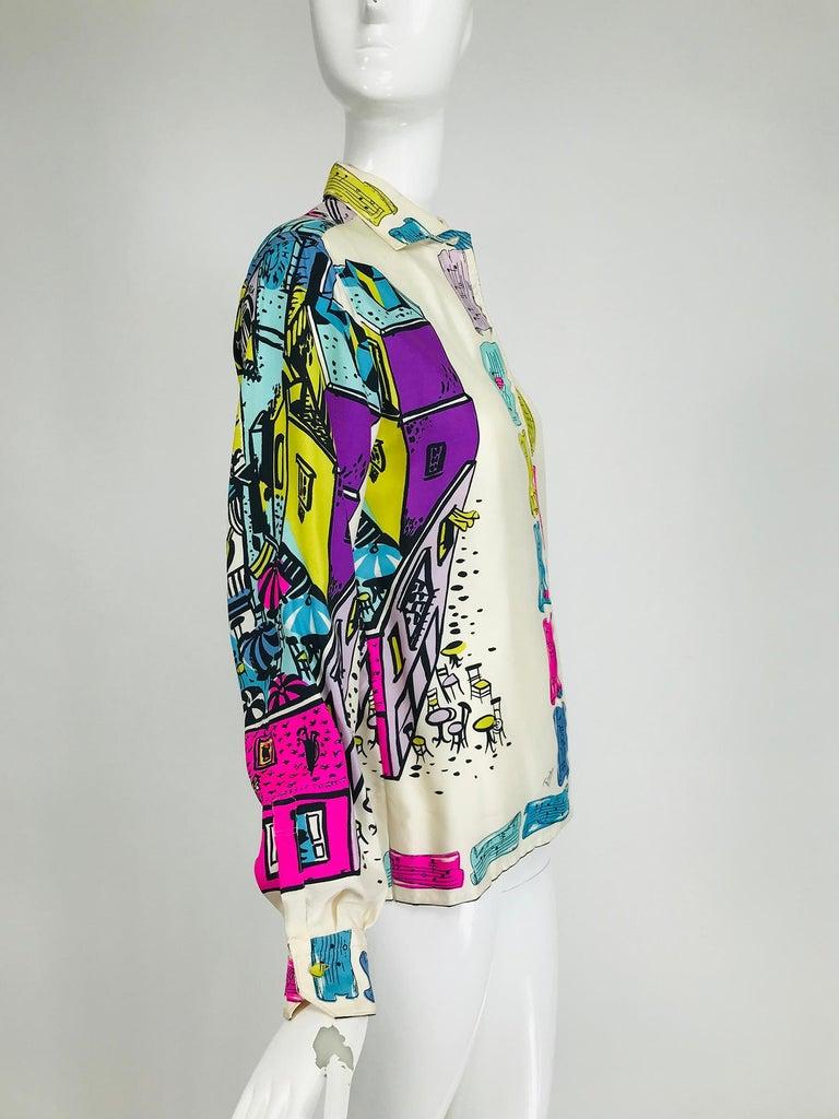 Emilio Pucci Rare Silk Twill Print Italian Cafe Blouse 1960s 6