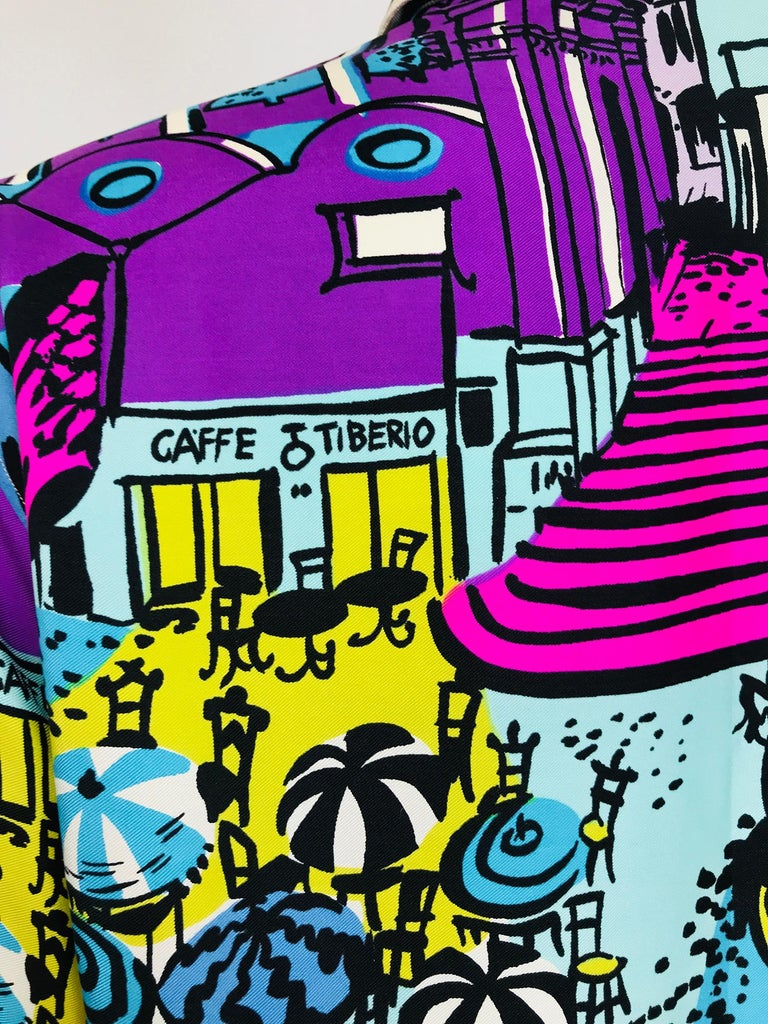 Emilio Pucci Rare Silk Twill Print Italian Cafe Blouse 1960s 9