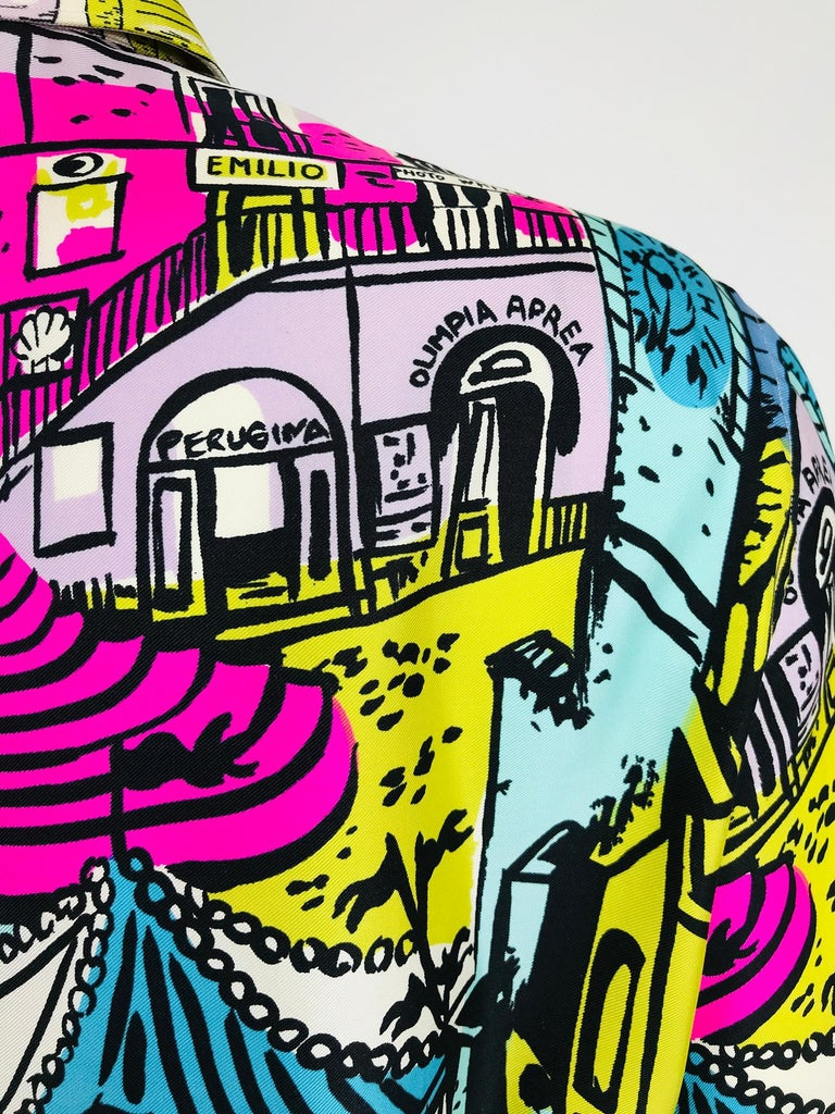 Emilio Pucci Rare Silk Twill Print Italian Cafe Blouse 1960s 10