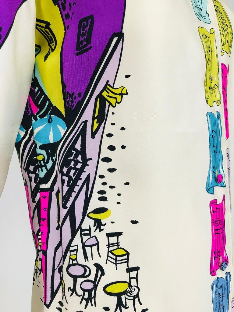 Emilio Pucci Rare Silk Twill Print Italian Cafe Blouse 1960s 11