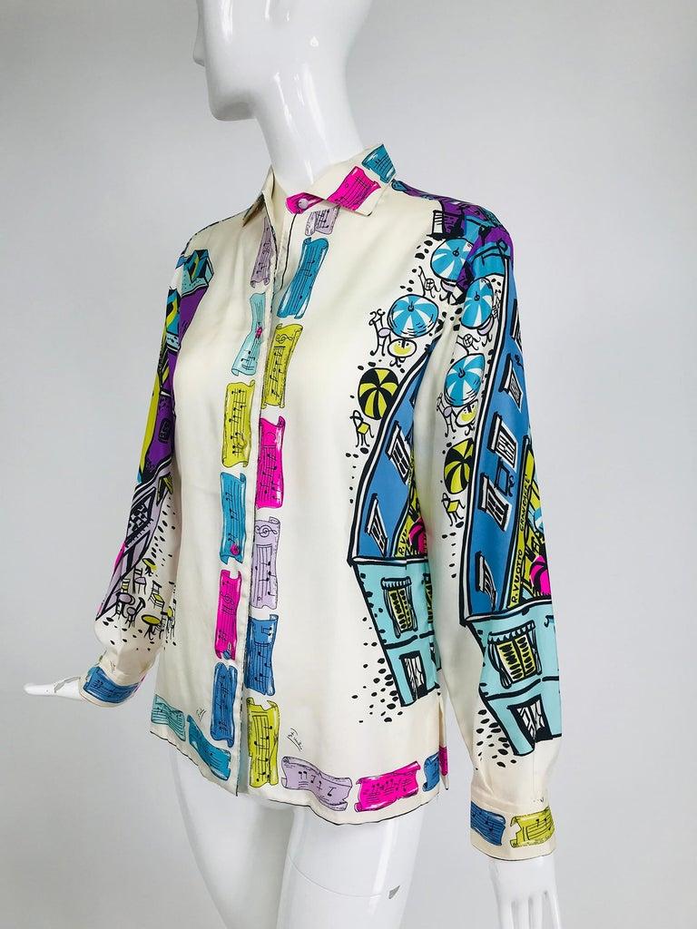 Gray Emilio Pucci Rare Silk Twill Print Italian Cafe Blouse 1960s