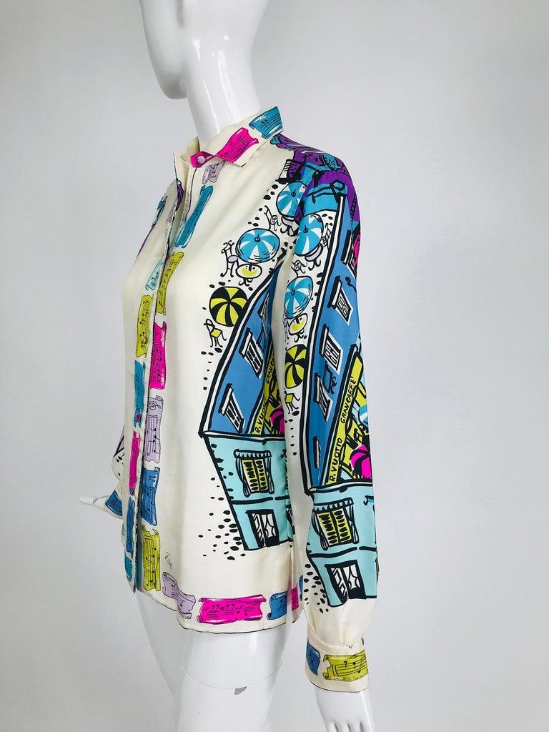 Emilio Pucci Rare Silk Twill Print Italian Cafe Blouse 1960s In Good Condition In West Palm Beach, FL