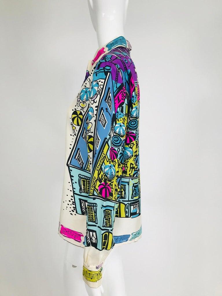 Women's Emilio Pucci Rare Silk Twill Print Italian Cafe Blouse 1960s