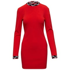 Emilio Pucci Red-Orange & Multicolor Long Sleeve Dress