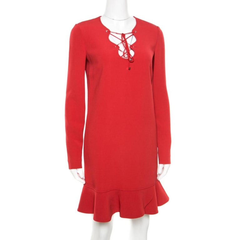 Emilio Pucci Red Tie-Up Detail Cady Flounce Dress S In Good Condition For Sale In Dubai, Al Qouz 2