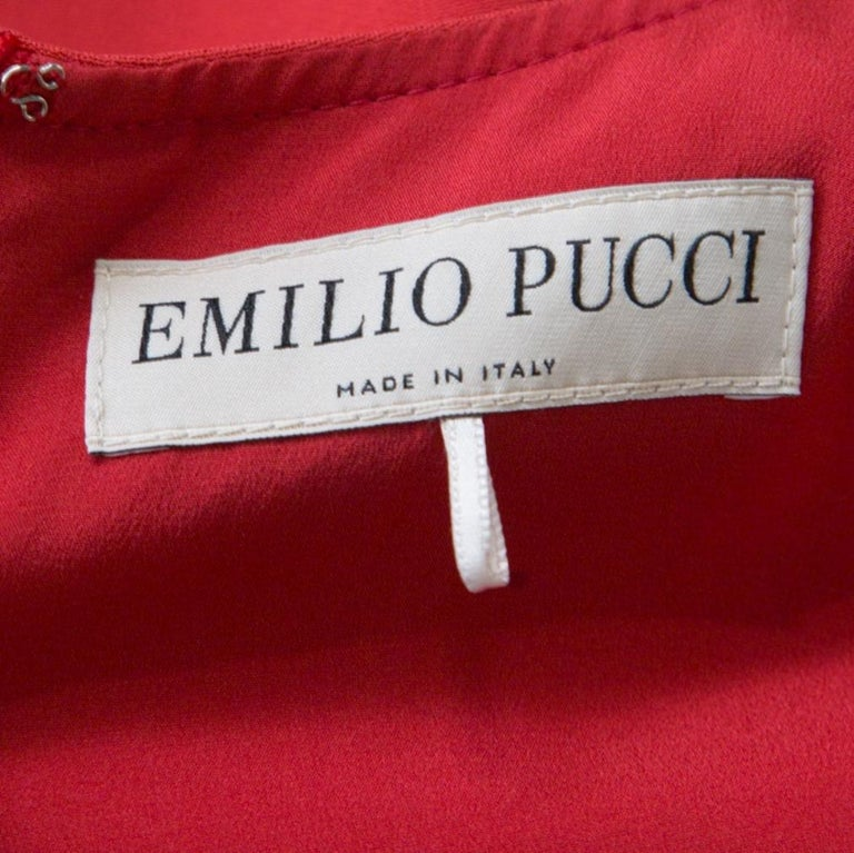 Women's Emilio Pucci Red Tie-Up Detail Cady Flounce Dress S For Sale