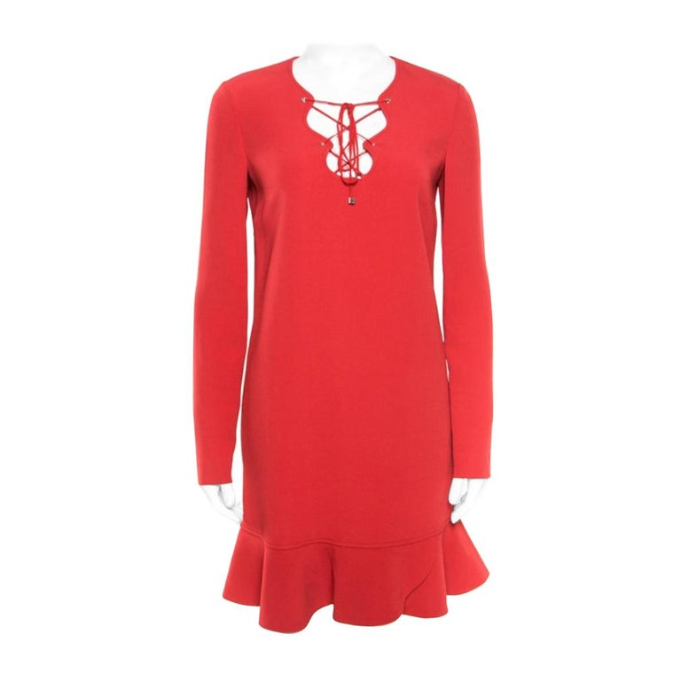 Emilio Pucci Red Tie-Up Detail Cady Flounce Dress S For Sale