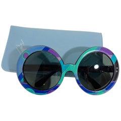EMILIO PUCCI Round Print Sunglasses w/ Case