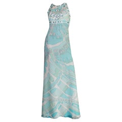 Emilio Pucci Seafoam Embroidered Crystal Sequin Silk Chiffon Gown Dress