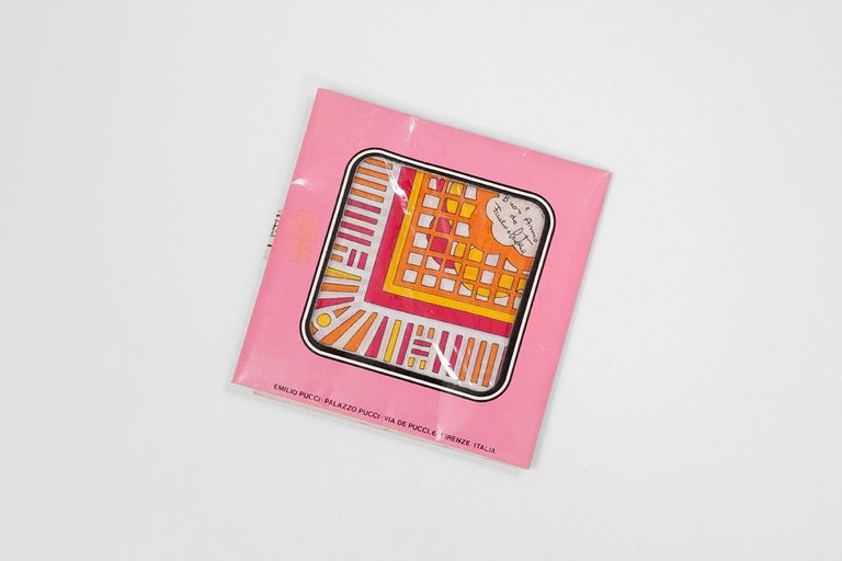 What a nice and refreshing idea of wishing a Merry Christmas and a Happy New Year through a joyful handkerchief ! Probably adressed to premium customer of the iconic Italian fashion house, this 60's Emilio Pucci printed cotton square scarf is still