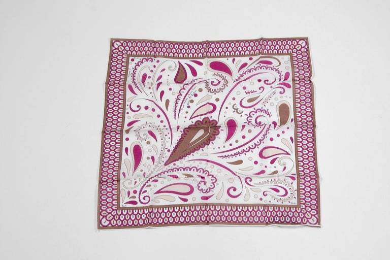 Women's or Men's Emilio Pucci Season's Greetings Printed Cotton Pocket Scarf For Sale