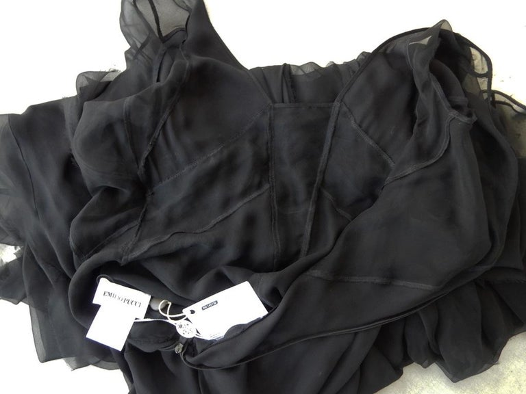 Emilio Pucci Seductive Sexy Sheer Black Dress Gown   NWT For Sale 6