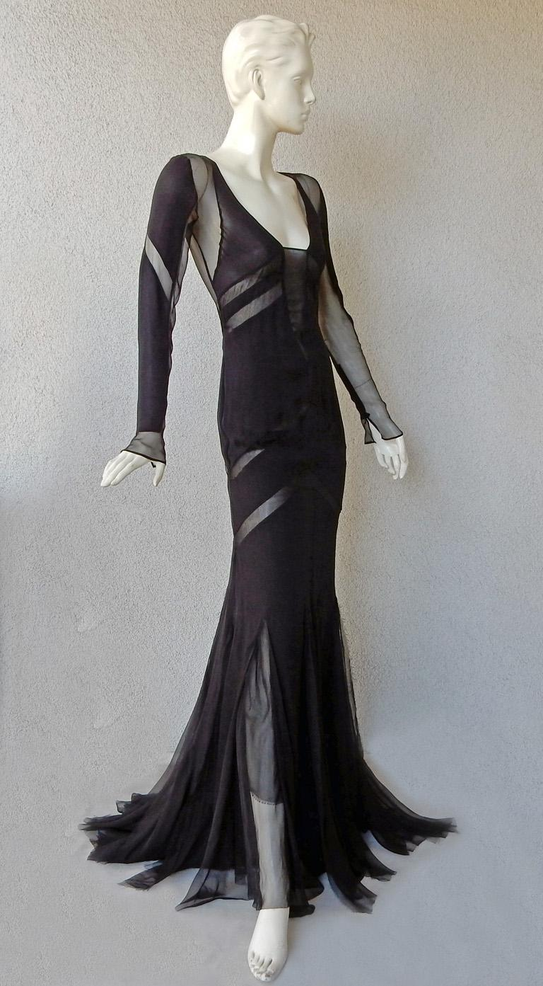 Emilio Pucci Seductive Sexy Sheer Black Dress Gown   NWT In New Condition For Sale In Los Angeles, CA