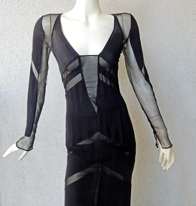 Women's Emilio Pucci Seductive Sexy Sheer Black Dress Gown   NWT For Sale