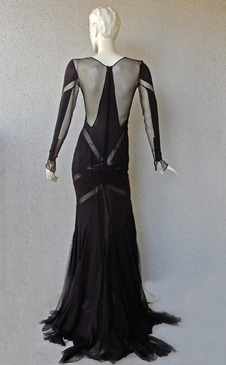 Emilio Pucci Seductive Sexy Sheer Black Dress Gown   NWT For Sale 4