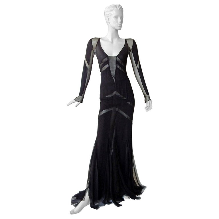 Emilio Pucci Seductive Sexy Sheer Black Dress Gown   NWT For Sale