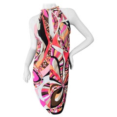 Emilio Pucci Sexy Slit Halter 60's Style Dress with Gold Chain Choker