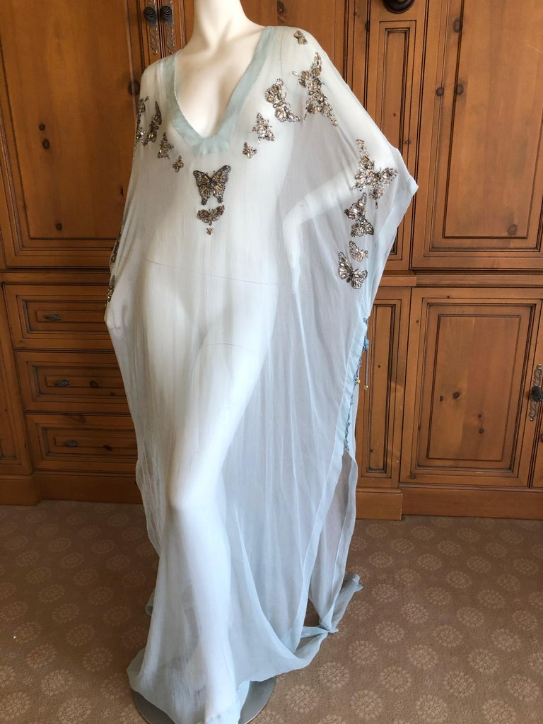 Emilio Pucci Sheer Long Silk Chiffon Caftan w Embellished Butterfly Details So pretty , new with tags, marked size 40 One size fits all  Length 64